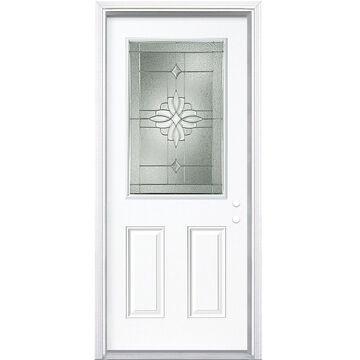 Masonite Laurel 36-in x 80-in Steel Half Lite Left-Hand Inswing Primed Prehung Single Front Door with Brickmould in White