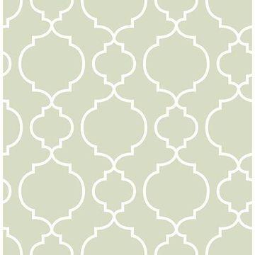 Brewster 2657-22258 Desiree Sage Quatrefoil Wallpaper