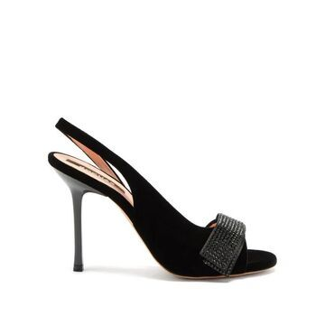 Rochas - Crystal-embellished Velvet Slingback Sandals - Womens - Black