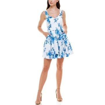 Trixxi Juniors' Pleated Floral-Print Dress