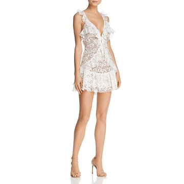 For Love & Lemons Womens Lace Ruffled Cocktail Dress