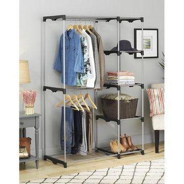 Whitmor Double Rod Freestanding Closet, Silver/Black
