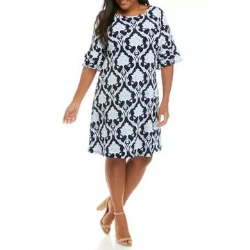 Ronni Nicole Women's Plus Size Floral Sleeve Printed Shift Dress - -