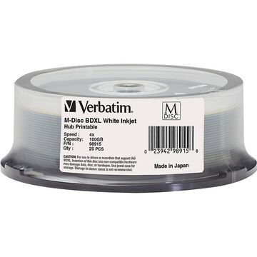 Verbatim Blu-ray Recordable Media - BD-R - 4x - 100 GB - 25 Pack Spindle - 120mm - Printable - Inkjet Printable
