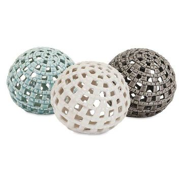 IMAX Home A0325436 Outer Banks Three Piece Ceramic Sphere Set by Trisha Yearwoo