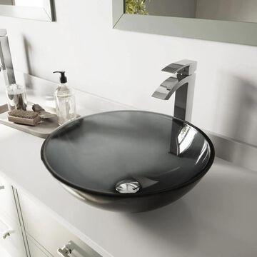 VIGO Vessel sink Sheer Black Glass Vessel Round Bathroom Sink with Faucet (Drain Included) (16.5-in x 16.5-in) | VGT252