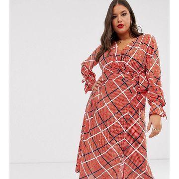 ASOS DESIGN Curve wrap midi dress in textured check
