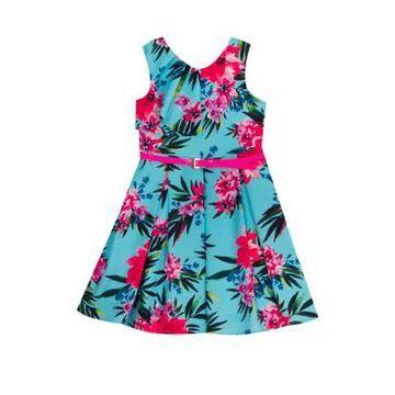Rare Editions Girls' Girls 4-6X Sleeveless Floral Print Ruffle Neck Dress - -