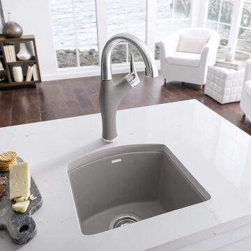 BLANCO Diamond 15-in L x 15-in W Truffle (Brown) 1-Hole Granite Residential Bar Sink   441295