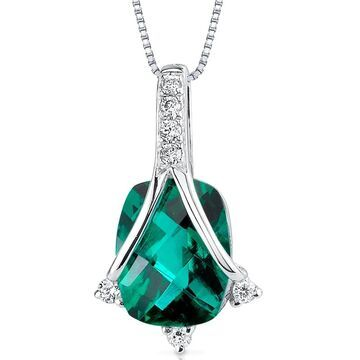 Oravo 14k White Gold Emerald Diamond Pendant Cushion Cut 1.9 carat