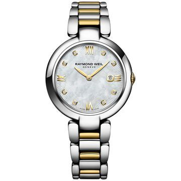 Women's Swiss Shine Diamond Accent Two-Tone PVD Stainless Steel Bracelet Watch with Interchangeable Black Satin Strap 32mm 1600-STP-00995