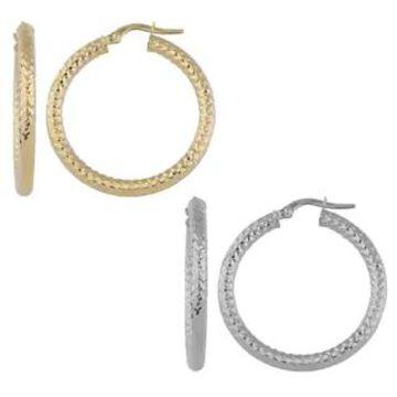 Fremada 10k White or Yellow Gold 3x25-mm Diamond-cut Round Hoop Earrings (White - White)
