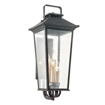 allen + roth Prospect Hill 27-in H Aged Pewter Candelabra Base (E-12) Outdoor Wall Light