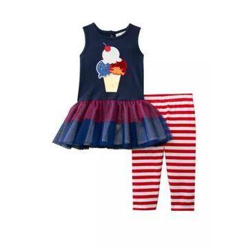 Rare Editions Girls' Toddler Girls Sleeveless Americana Tulle Dress And Leggings Set - -
