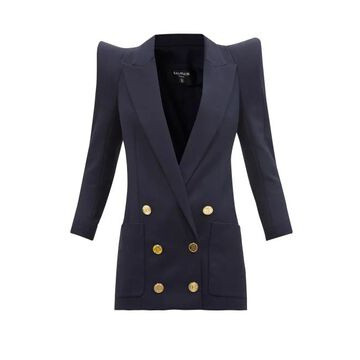 Balmain - Pagoda-shoulder Wool Jacket - Womens - Navy