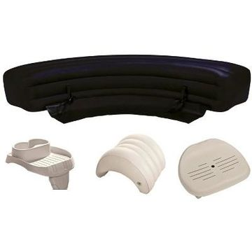 Intex PureSpa Hot Tub Accessories Package - Headrest, Bench, Seat, and Cupholder
