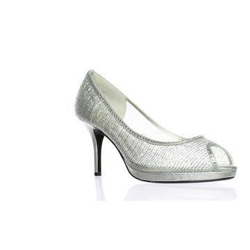 Caparros Womens Future Silver Peep Toe Heels Size 10