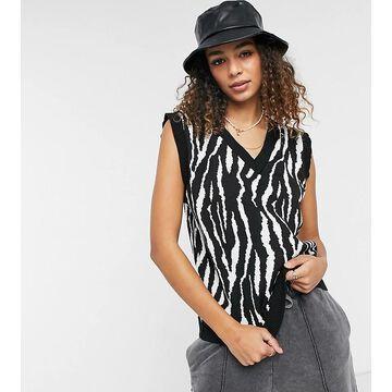 Daisy Street sweater tank in zebra knit-White