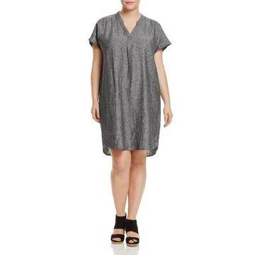Foxcroft Womens Plus Linen Dolman Sleeves Tunic Dress
