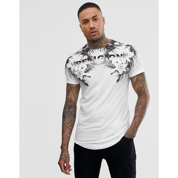 Religion curved hem t-shirt with floral print in white