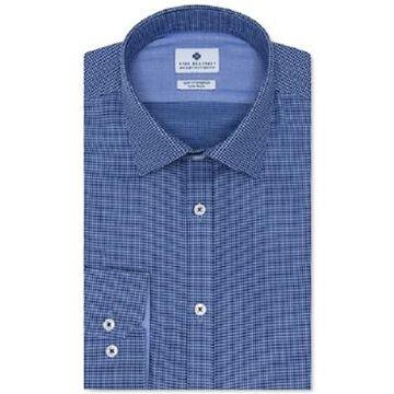 Ryan Seacrest Distinction Men's Ultimate Slim-Fit Non-Iron Performance Stretch Dark Blue Dobby Dress Shirt, Created For Macy's
