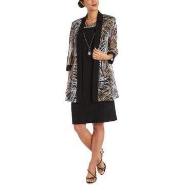 R & M Richards Petite 2-Pc. Printed Jacket & Necklace Dress Set