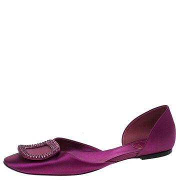 Roger Vivier Purple Satin Ballerine Chips Strass D'Orsay Flats Size 39