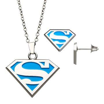 DC Comics Supergirl Silver Plated Logo Pendant & Earring Set