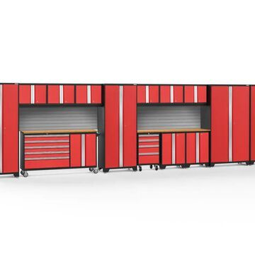 NewAge Products Bold Series 276-in W x 77.25-in H Deep Red Steel Garage Storage System | 56537