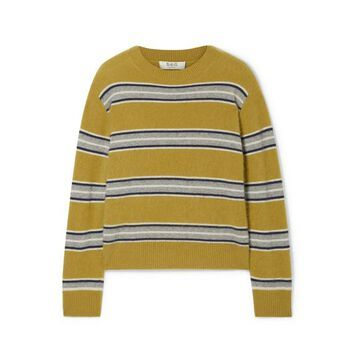 SEA - Salene Striped Cashmere Sweater - Mustard