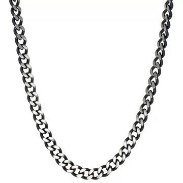 """Men's LYNX Gray Stainless Steel Curb Chain Necklace, Size: 24"""", Grey"""