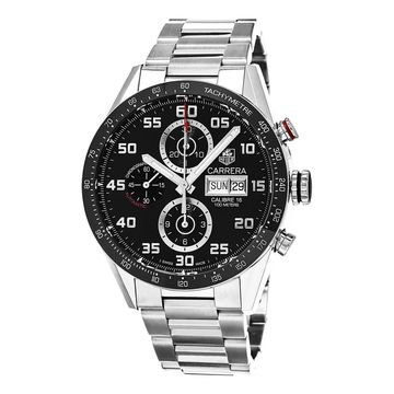 Tag Heuer Men's CV2A1R.BA0799 'Carrera' Black Dial Stainless Steel Chronograph Swiss Automatic Watch