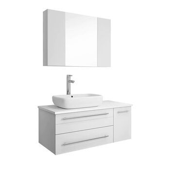 Fresca Lucera 36-in White Single Sink Bathroom Vanity with White Quartz Top (Faucet Included) | FVN6136WH-VSL-L
