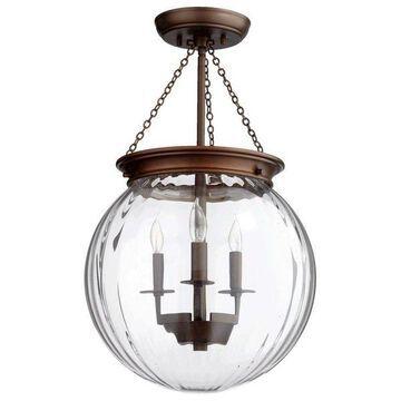 Quorum International 6920-3 3 Light Globe Pendant with Clear Shade
