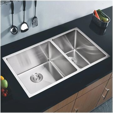 "33""X20"" 60/40 Double 16g SS Undermount Kitchen Sink w Strainers, Grids"