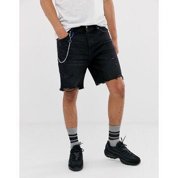 Bershka slim denim shorts with abrasions in black