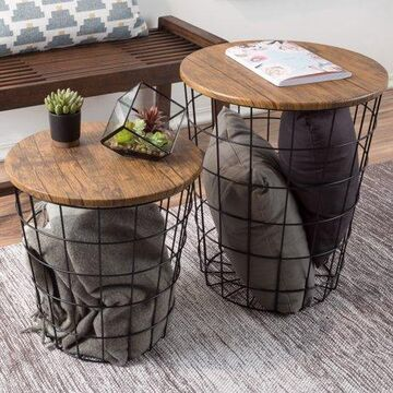 Nesting End Tables with Storage- Set of 2 Round Metal Baskets By Lavish Home, Chestnut