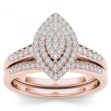 De Couer IGI Certified 14k Rose Gold 1/3ct TDW Diamond Marquise Shape Halo Engagement Ring Set