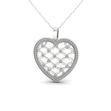 De Couer 1/4ct TDW Diamond Heart Necklace - White