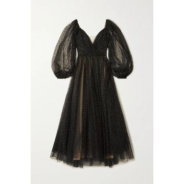 Monique Lhuillier - Off-the-shoulder Glittered Tulle Gown - Black