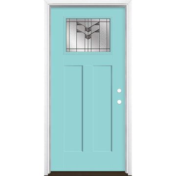 Masonite Frontier 36-in x 80-in Fiberglass Craftsman Left-Hand Inswing Caribbean Blue Painted Prehung Single Front Door with Brickmould