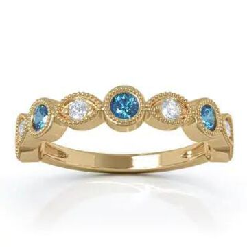 14K Gold Swiss Blue Topaz & Diamond (0.12 Ct, G-H Color, SI2-I1 Clarity) Milligrain Wedding Band by Noray Designs