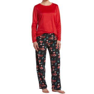 Sueded Fleece Top & Printed Pants Holiday Pajama Set