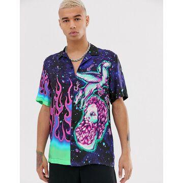 Jaded London revere collar shirt in majestic print in purple