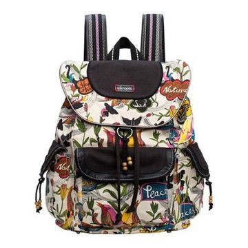 Sakroots Women's Artist Circle Flap Backpack White Peace - US Women's One Size (Size None)
