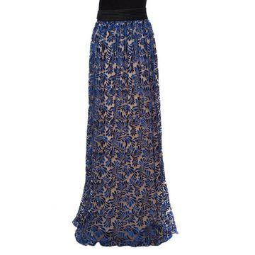 Emanuel Ungaro Royal Blue Tulle Foliage Embroidered Maxi Skirt L