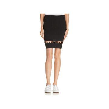 T by Alexander Wang Womens Pencil Skirt Ribbed Strap-Detail - Black - L