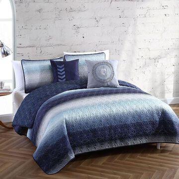 Avondale Manor Cypress 5-piece Quilt Set, Blue, Twin