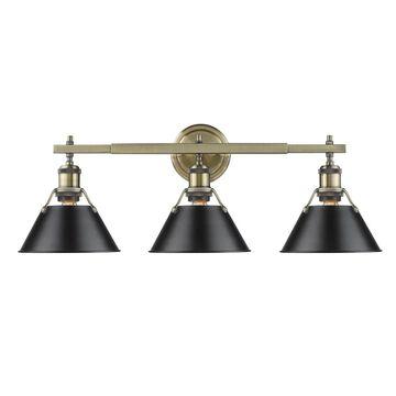 Golden Lighting Orwell AB Aged Brass Black Shade 3-light Bath Vanity