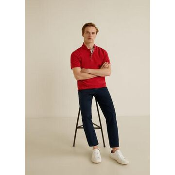 MANGO MAN - Mao collar cotton polo red - M - Men